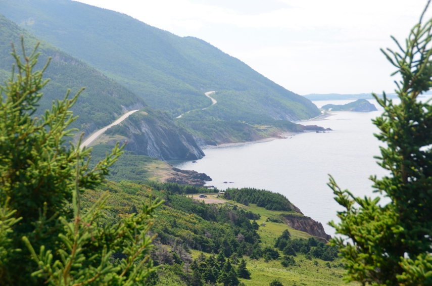 Cabot Trail, Road between ocean and mountain.