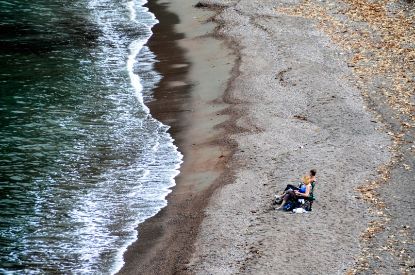 I love the interest of seeing sunbathers that are an even smaller part of the Meat Cove image.