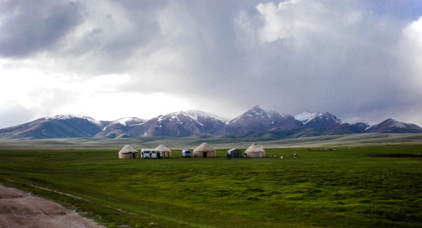 Snow clouds moving in over Son Kul, Kyrgyzstan