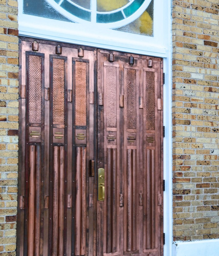 Copper doors, Church in Quebec - Gaspe Peninsula