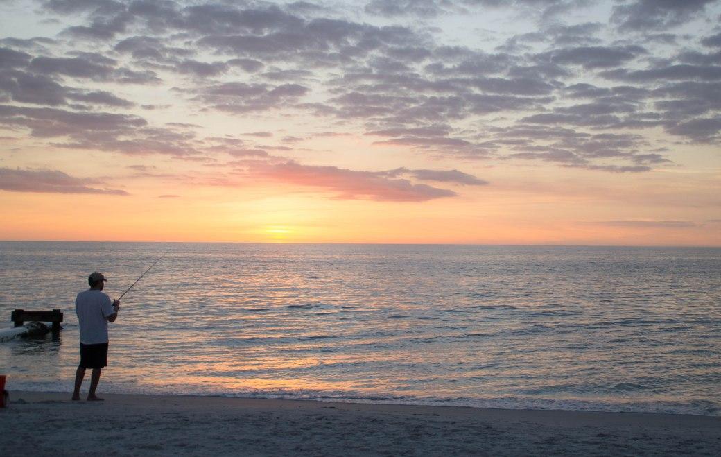 Fishing at Sunset, Naples Beach