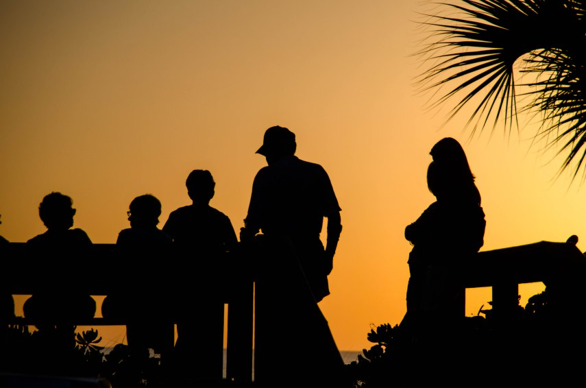 Gathering to talk and watch the sunset.