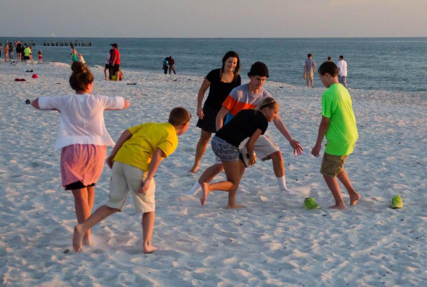 Spirited ball game - glowing youth.