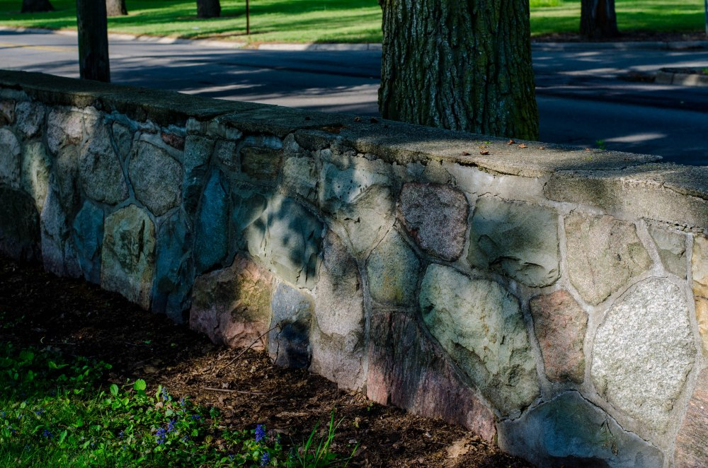 The stone wall in front of Ella Sharp's home which is now a museum.