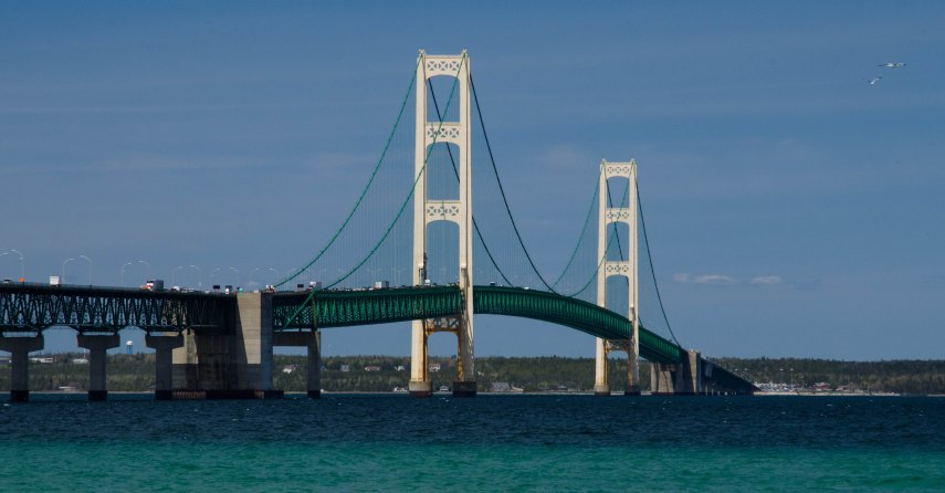 View of bridge from the Lower Peninsula.