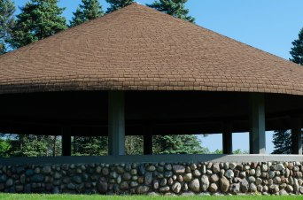 Stone walls of gazebo in Ella Sharp Park