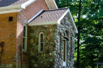 Stone entrance to school house.