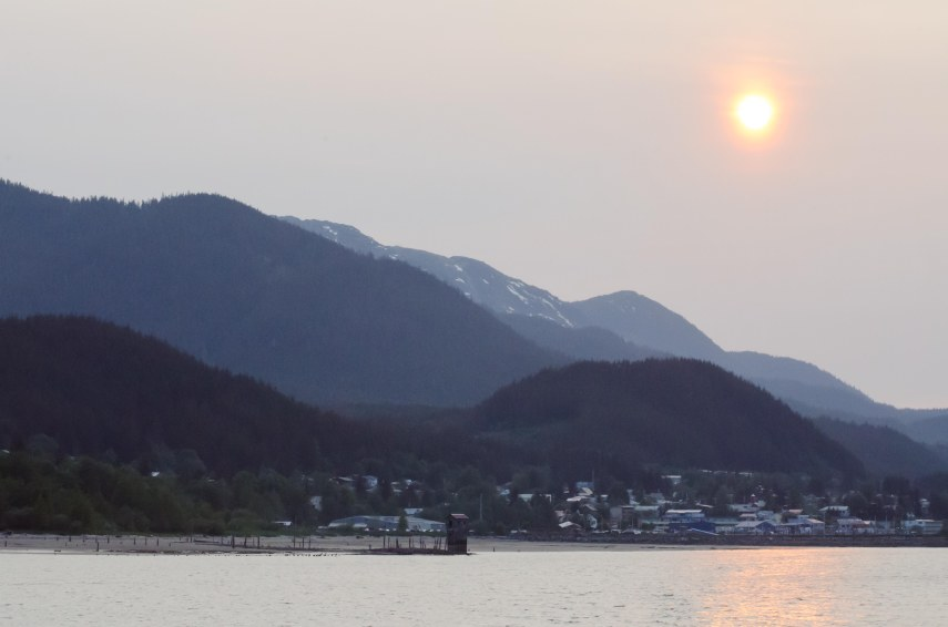 Leaving Juneau as the sun was getting low.